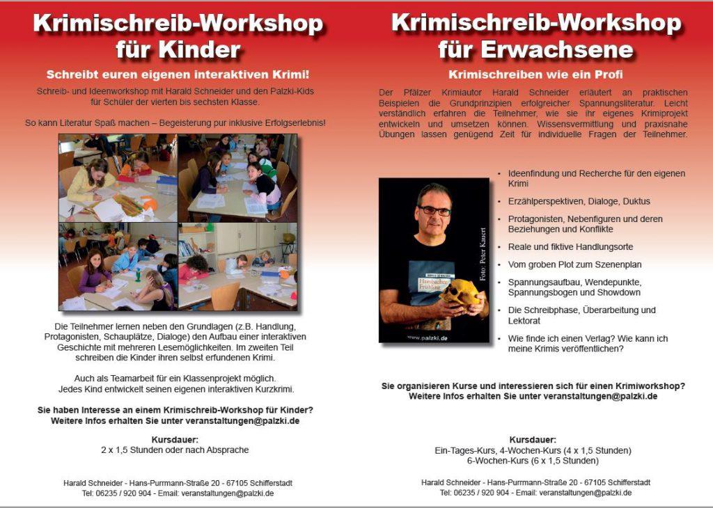 Folder Palzki Veranstaltungen Lesungen und Workshops